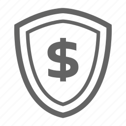 currency, finance, line, money, shield, stock icon