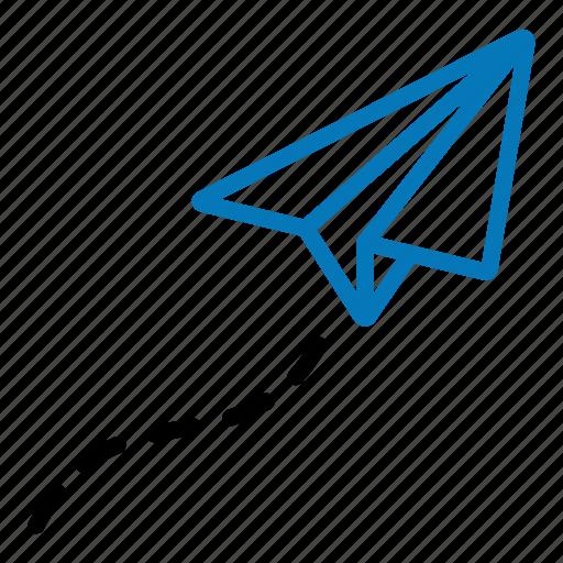 creative, flight, launch, paper plane, project icon