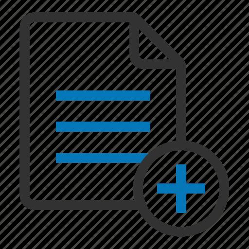 add, create, document, file, new, plus icon