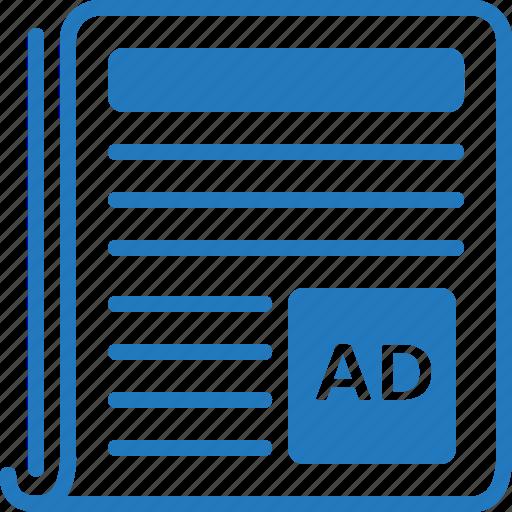 ad, advertise, advertisement, advertising, news, newspaper, sponsor icon
