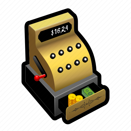 cashier, coin, dollar, financial, gold, money, register icon