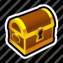 chest, closed, gold, money, treasure, prize, reward