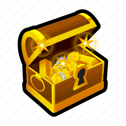 achievement, chest, coin, gold, money, reward, treasure icon