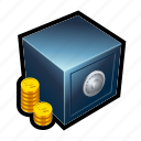 coin, gold, monetary, money, treasure, vault, bank