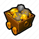 car, coin, gold, mine, money, tools, treasure