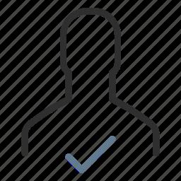 accept, avatar, done, new, person, profile, success icon