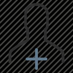 account, add user, men, new user, person, plus, profile icon