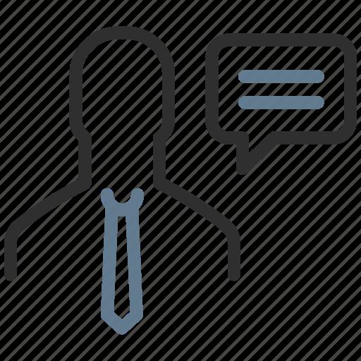 avatar, businessman, chat, comment, person, speech, talk icon