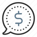 bubble, cash, currency, dollar, earnings, finance, money icon