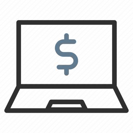 computer, device, dollar, earnings, income, laptop, money icon