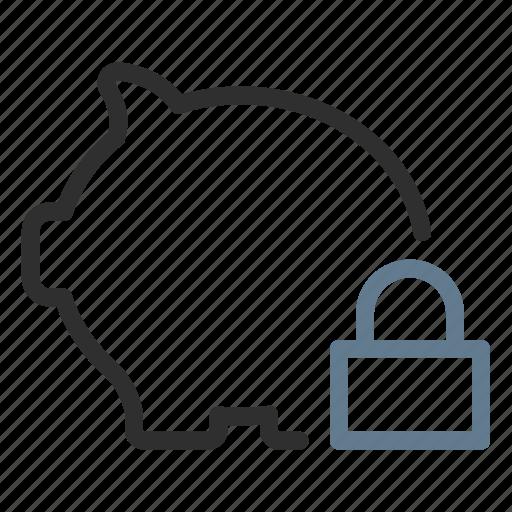 bank, banking, lock, piggy, safe, savings, secure icon