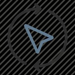 arrows, cursor, destination, gps, location, refresh, reload icon