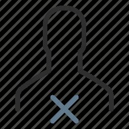 account, avatar, cross, delete, man, profile, remove user icon