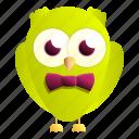 baby, family, green, lime, owl, retro