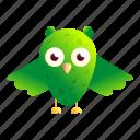 baby, girl, green, happy, owl, vintage