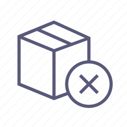 box, del, dropbox, not delivered, packing, remove, shipping icon