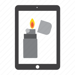 fire, ipad, lighter, spark, tablet icon