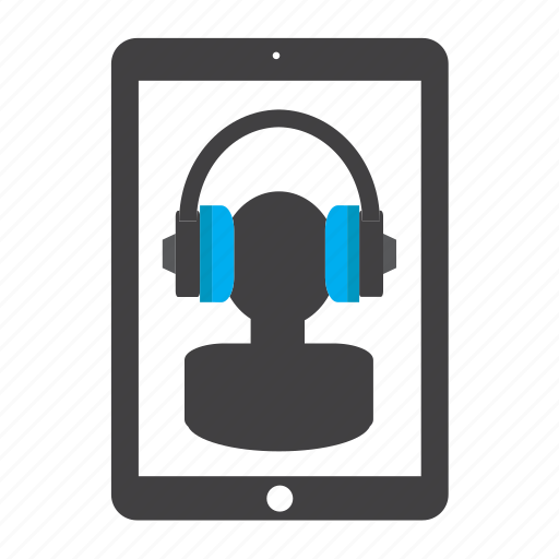 audio, ipad, listening, man, music, person, tablet icon