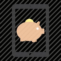 bank, coin, ipad, money, piggy, save icon