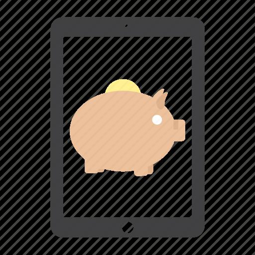 bank, coin, guardar, ipad, money, piggy, save icon
