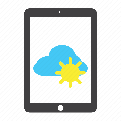 cloud, forecast, ipad, sun, sunny, tablet, weather icon