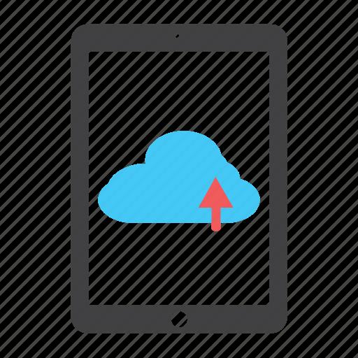 arrow, cloud, ipad, tablet, up, upload icon