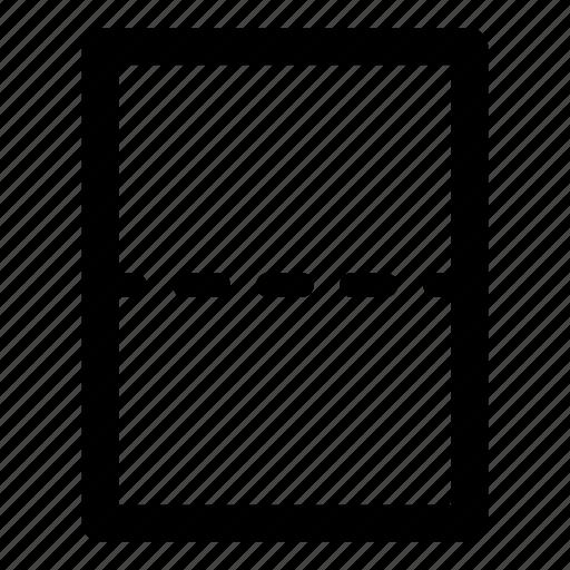 break, crease, document, fold, horizontal rule, page, page break, score icon
