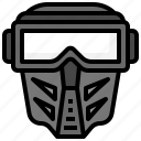 paintball, utensils, sports, competition, tools, mask, covering icon