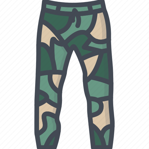 camouflage, clothes, filled, outline, pants icon