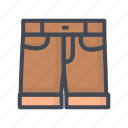 clothes, filled, jeans, outline, shorts icon