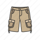 cargo shorts, fashion, men short, pants, short, shorts, trouser shorts icon