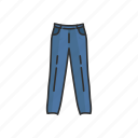 clothing, fashion, jeans, jogging pants, pants, track pants icon