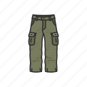 army pants, cargo pants, cargo trouser, clothing, male pants, pants, shorts icon