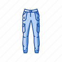 clothing, garment, jeans, jogger, pants, track pants icon