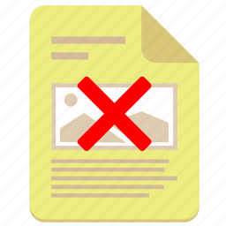 cancel, doc, document, file, paper, photo, print icon