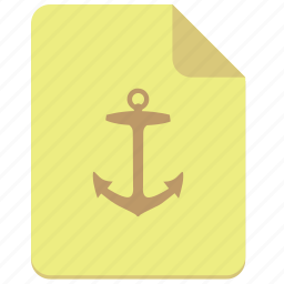 anchor, doc, document, paper, sign icon