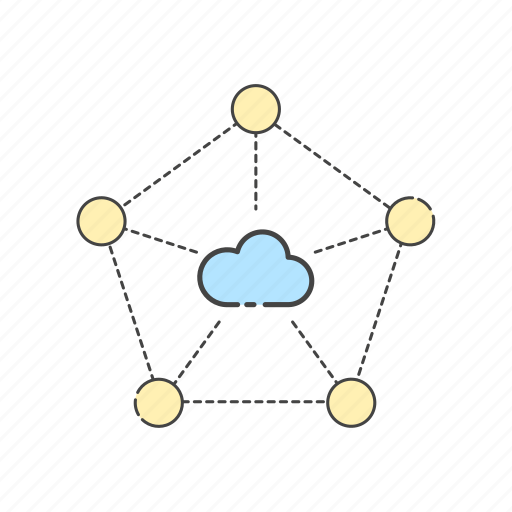 cloud, computing, connection, hub, internet, network, share icon