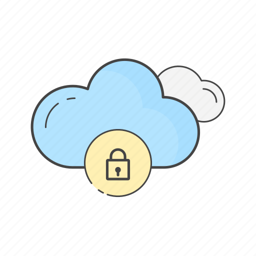 cloud, data, lock, locked, network, protected, security icon