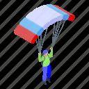 business, cartoon, isometric, jump, parachuter, retro, woman