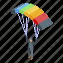 adrenaline, cartoon, isometric, parachuter, person, sport, woman