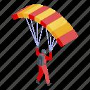 business, cartoon, isometric, parachuter, person, silhouette, sport