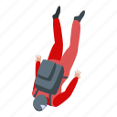 business, cartoon, fall, isometric, parachuter, person, silhouette