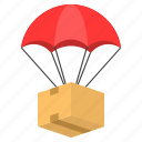 cargo, delivery, logistic, parachute, sending, shipping icon