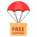 box, cargo, delivery, free, logistic, parachute, shipping icon