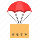 cargo, delivery, logistic, package, parachute, parcel box, shipping icon
