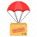 cargo, delivery, logistic, parachute, shipping icon