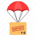 box, delivery, import, parachute, shipping, shopping icon