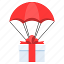 birthday, delivery, gift box, logistics, parachue, shipping icon