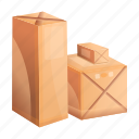 box, brown, cardboard, cargo, packed, parcel icon