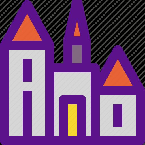 building, castle, france, medieval icon